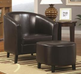 Accent Chair by Coaster 900240 Dark Brown Leatherette with Ottoman