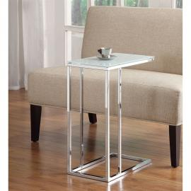 Snack Table 900250 Contemporary Frosted Glass Top & Chrome