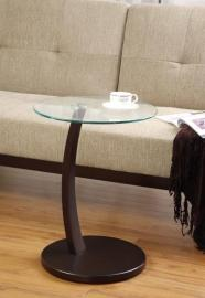 Cappuccino Finish 900256 Glass Top Accent Table
