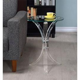 Coaster 900490 Round Clear Acrylic 3 Leg Accent End Table