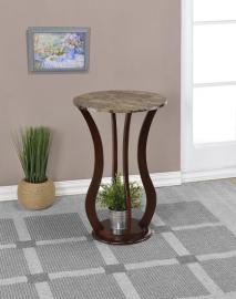 Chocolate Finish 900926 Accent Table with Round Marble Top