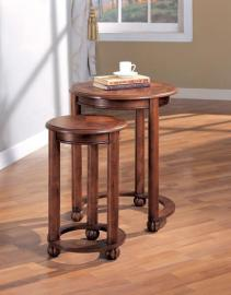 3 Piece Warm Brown Nesting Table Set by Coaster 901049