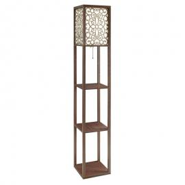 Cappuccino Finish 901568 Floor Lamp with Flower Pattern Shade