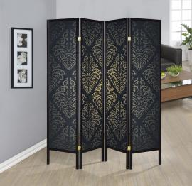 Four Panel Black Contemporary Print Folding Screen by Coaster 901632