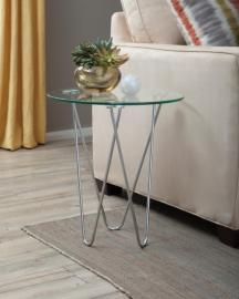 Silver Finish 901914 Glass Top Accent Table
