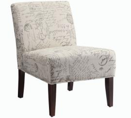 Accent Chair by Coaster 902055 Off White/Grey Linen Cotton Fabric