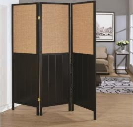 Three Panel Black and Tan Folding Screen by Coaster 902624