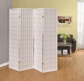 Four Panel White Folding Screen by Coaster 902626