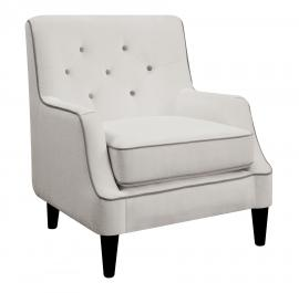 Donny Osmond Home 902895 White Accent Chair with Gray Trim