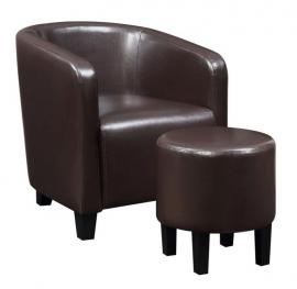 Accent Chair by Coaster 903362 Brown Leatherette with Ottoman