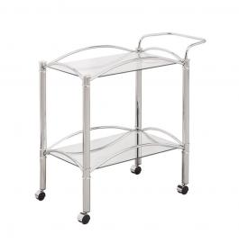 Chrome Tempered Glass Serving Cart by Coaster 910077