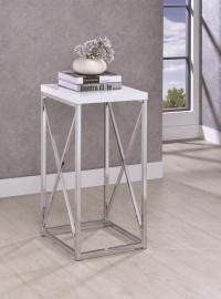 Chrome/White Finish 930014 Accent Table