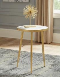 Round Accent End Table 930060 White Marble & Metal Gold Color 3 Legged