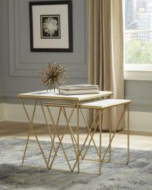 Nesting Tables 930075 White Marble & Metal Gold Color Legs