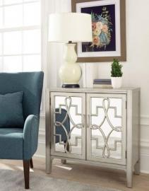 Scott Living 950771 Champagne-Finish Accent Cabinet with Mirrored Doors