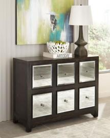Scott Living 950776 Brown Accent Cabinet with Mirrored Panels