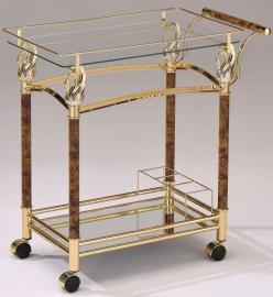 Acme Furniture 98002 Helmut Serving Cart Golden Plated Clear Glass
