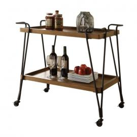 Acme Furniture 98335 Morais Oak and Black Serving Cart