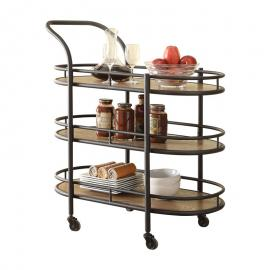 Acme Furniture 98337 Barros Oak & Black Serving Cart