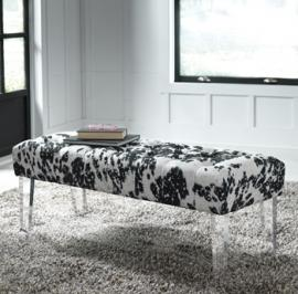 A3000090 Brooklee Cowhide Bench in Black/Cream/Silver