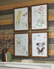 A8000255 Carlisia Ashley Butterfly 4 pc set Botanical framed art