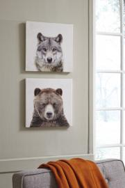 A8000261 Ashley Albert Wolf/Bear Print set of 2 in Wrapped Canvas