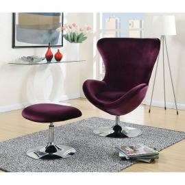 Eloise AC6841 Purple Scoop frame Accent Chair with Ottoman
