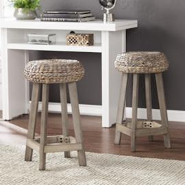 "BC1724 Rutina by Southern Enterprises Backless Round Water Hyacinth 24"" Stools 2pc Set"