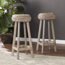 "BC1730 Rutina by Southern Enterprises Backless Round Water Hyacinth 30"" Stools 2pc Set"