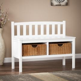 BC9218R Southern Enterprises Bench w/ Rattan Baskets - White
