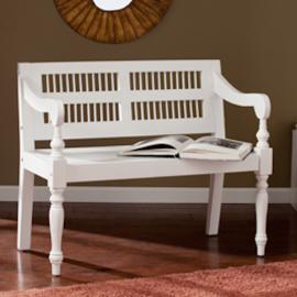 BC9241 Southern Enterprises Solid Mahogany Turned-Leg Bench - White