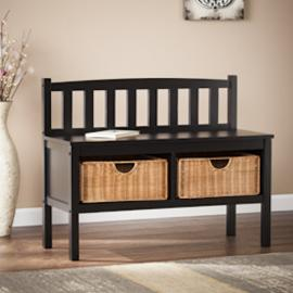 BC9318R Southern Enterprises Bench w/ Rattan Baskets - Black