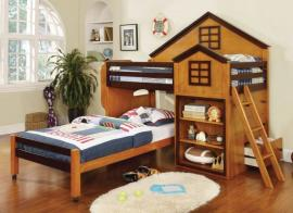 Citadel Collection BK131AW Oak and Walnut Twin/Twin Loft Bunk Bed