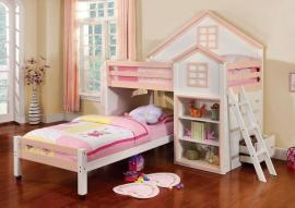 Citadel Collection BK131PW Pink and White Twin/Twin Loft Bunk Bed