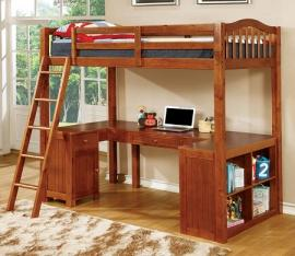 Dutton Collection BK265A Oak Twin Workstation Bunk Bed