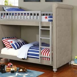 Sascha BK718 Grey Fabric Nailhead Trim Bunk Bed