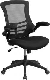 Flash Furniture Black Mid-Back Task Mesh Chair Flip-Up Arms