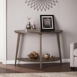 CK0183 Chandler By Southern Enterprises Demilune Console Table w/ Glass Top - Burnt Oak