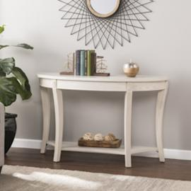 CK0193 Laverly By Southern Enterprises Traditional Demilune Console Table - Whitewash