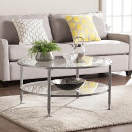 CK0740 Jaymes By Southern Enterprises Metal/Glass Round Cocktail Table - Silver