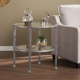 CK0742 Jaymes By Southern Enterprises Metal/Glass Round End Table - Silver