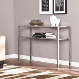 CK0773 Southern Enterprises Metal/Glass Console Table - Silver