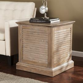 CK1422 Abram By Southern Enterprises Louvered Trunk End Table - Burnt Oak