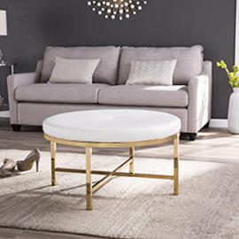 CK1746 Rachel By Southern Enterprises Cocktail Ottoman - Glam Style - Brass