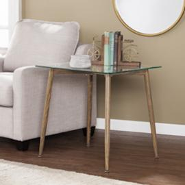 CK2352 Cillian By Southern Enterprises End Table w/ Glass Top - Contemporary Style-12896