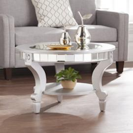 CK2380 Lindsay By Southern Enterprises Glam Mirrored Round Cocktail Table