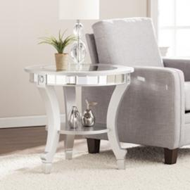 CK2382 Lindsay By Southern Enterprises Glam Mirrored Round End Table