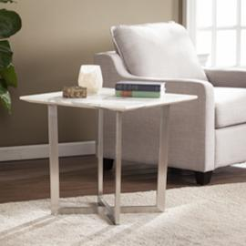 CK2752 Wrexham By Southern Enterprises Faux Marble End Table - Soft Ivory w/ Gray