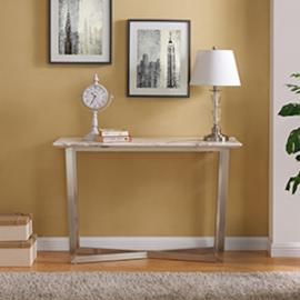 CK2753 Wrexham By Southern Enterprises Faux Marble Console Table - Contemporary Style