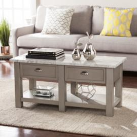 CK2760 Youngston By Southern Enterprises Faux Marble Rectangular Cocktail Table - Gray